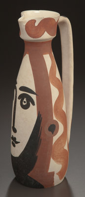 PABLO PICASSO (Spanish, 1881-1973) Face, 1955 Partially glazed and painted ceramic pitcher 12 x 5