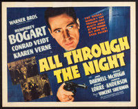 "All Through the Night (Warner Brothers, 1942). Half Sheet (22"" X 28"") Style A. Film Noir"