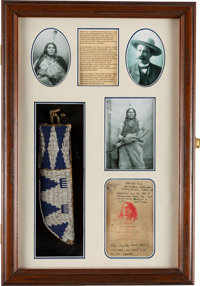 Sioux Chief Gall: Well-Used Beaded Knife Sheath Belonging to this Little Big Horn Participant, With Provenance from Phot...