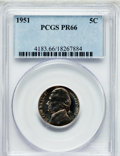 Proof Jefferson Nickels: , 1951 5C PR66 PCGS. PCGS Population (639/308). NGC Census:(272/647). Mintage: 57,500. Numismedia Wsl. Price for problemfre...