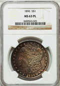 Morgan Dollars: , 1896 $1 MS63 Prooflike NGC. NGC Census: (183/324). PCGS Population(292/411). Numismedia Wsl. Price for problem free NGC/P...
