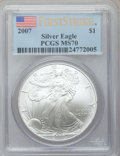 Modern Bullion Coins, 2007 $1 One Ounce Silver American Eagle, First Strike MS70 PCGS.PCGS Population (84). NGC Census: (0)....