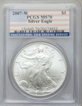 Modern Bullion Coins, 2007-W $1 One Ounce Silver Eagle MS70 PCGS. PCGS Population (2911).NGC Census: (11307). Numismedia Wsl. Price for problem...