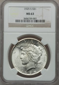 Peace Dollars: , 1925-S $1 MS63 NGC. NGC Census: (1572/1684). PCGS Population(2511/1797). Mintage: 1,610,000. Numismedia Wsl. Price for pro...