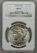 Peace Dollars: , 1924-S $1 MS62 NGC. NGC Census: (630/1698). PCGS Population(749/2688). Mintage: 1,728,000. Numismedia Wsl. Price for probl...