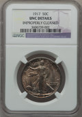 Walking Liberty Half Dollars: , 1917 50C -- Improperly Cleaned -- NGC Details. UNC. NGC Census:(2/1698). PCGS Population (26/2077). Mintage: 12,292,000. N...