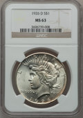 Peace Dollars: , 1926-D $1 MS63 NGC. NGC Census: (677/1589). PCGS Population(1279/2405). Mintage: 2,348,700. Numismedia Wsl. Price for prob...