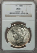 Peace Dollars: , 1934-D $1 MS61 NGC. NGC Census: (386/3020). PCGS Population(192/4237). Mintage: 1,569,500. Numismedia Wsl. Price for probl...
