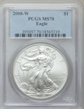 Modern Bullion Coins, 2008-W $1 One Ounce Silver Eagle MS70 PCGS. PCGS Population (1936).NGC Census: (19422)....