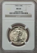 Walking Liberty Half Dollars: , 1943-S 50C MS64 NGC. NGC Census: (2386/1809). PCGS Population(3477/3068). Mintage: 13,450,000. Numismedia Wsl. Price for p...