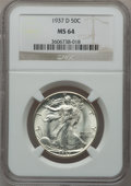 Walking Liberty Half Dollars: , 1937-D 50C MS64 NGC. NGC Census: (343/505). PCGS Population(651/1068). Mintage: 1,676,000. Numismedia Wsl. Price for probl...