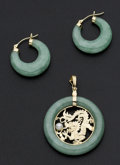 Estate Jewelry:Coin Jewelry and Suites, Green Jade Hoop Earrings & Dragon Enhancer Pendant. ... (Total:2 Items)