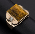 Estate Jewelry:Rings, Antique Gent's Carved Tiger Eye & Diamond Ring. ...