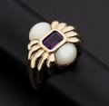 Estate Jewelry:Rings, Amethyst & Mother Of Pearl Cabachon Gold Ring. ...