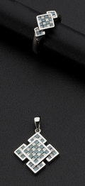 Estate Jewelry:Other , Matching Blue & White Diamond Ring & Pendant. ... (Total: 2Items)