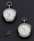 Timepieces:Pocket (pre 1900) , Elgin & Hampden 18 Size Key Winds. ... (Total: 2 Items)