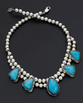 Estate Jewelry:Necklaces, Sterling Silver Bead & Turquoise Drop Necklace. ...