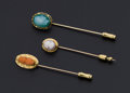 Estate Jewelry:Stick Pins and Hat Pins, Three Antique Cameo Gold Stick Pins. ... (Total: 3 Items)