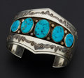 Estate Jewelry:Bracelets, Signed Indian Sterling Silver & Turquoise Cuff. ...