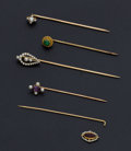 Estate Jewelry:Stick Pins and Hat Pins, A Lot Of Five Antique Stick Gold Pins. ... (Total: 5 Items)