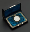 Timepieces:Pocket (pre 1900) , Swiss Early 18k Gold Stem Wind With Original Box, circa 1870. ...