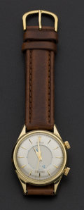 Timepieces:Wristwatch, Gent's Vintage 18k Gold Gübelin Alarm Wristwatch. ...