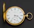 Timepieces:Pocket (pre 1900) , Adams Lombard St. London 18k Gold Demi-Hunter With Enamel, DuplexFusee, circa 1845. ...