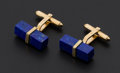 Estate Jewelry:Cufflinks, Blue Lapis Gold Cufflinks. ...