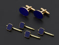 Estate Jewelry:Cufflinks, Gent's Blue Lapis & Gold Cufflinks & Studs. ... (Total: 3 Items)