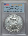 Modern Bullion Coins, 2011-(W) $1 One Ounce Silver Eagle, First Strike MS70 PCGS. Ex: USMint-Sealed Box #10. PCGS Population (2687). NGC Census:...