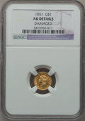 Gold Dollars, 1851 G$1 -- Damaged -- NGC Details. AU. NGC Census: (20/4109). PCGSPopulation (86/2429). Mintage: 3,317,671. Numismedia Ws...