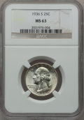 Washington Quarters: , 1936-S 25C MS63 NGC. NGC Census: (134/1031). PCGS Population(199/1989). Mintage: 3,828,000. Numismedia Wsl. Price for prob...