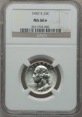 Washington Quarters: , 1947-S 25C MS66 ★ NGC. NGC Census: (2126/656). PCGS Population(1645/158). Mintage: 5,532,000...