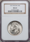 Commemorative Silver: , 1937 50C Boone MS65 NGC. NGC Census: (555/314). PCGS Population(757/467). Mintage: 9,810. Numismedia Wsl. Price for proble...