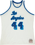 Basketball Collectibles:Uniforms, Jerry West Signed Throwback Los Angeles Lakers Jersey. ...