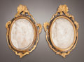Decorative Arts, Continental:Other , A PAIR OF FRAMED ITALIAN ROCOCO MARBLE PORTRAIT PLAQUES . Italy,circa 1700. Inscribed: VESP-X, TIT-XI. 7-5/8 inches hig...(Total: 2 Items)