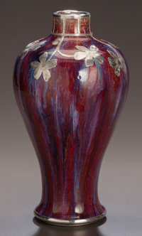 A CHINESE PORCELAIN FLAMBÉ MEIPING VASE WITH SHREVE & CO. SILVER OVERLAY China, Qing Dynasty Marks: (double r...