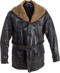 Military & Patriotic:WWI, WWI Era Leather Flying Coat With Sheepskin Collar....