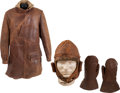 Military & Patriotic:WWI, WWI Era Leather Flying Coat, Helmet and Mittens.... (Total: 3 Items)