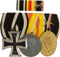 Military & Patriotic:WWI, WWI Imperial German Three-Place Medal Bar and Matching RibbonBar.... (Total: 2 Items)