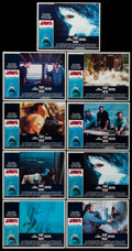 """Movie Posters:Horror, Jaws (Universal, 1975). Lobby Card Set of 8 & Lobby Card (11"""" X 14""""). Horror.. ... (Total: 9 Items)"""