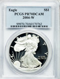 Modern Bullion Coins, 2004-W $1 One Ounce Silver Eagle PR70 Deep Cameo PCGS. PCGSPopulation (1759). NGC Census: (9023). Numismedia Wsl. Price f...