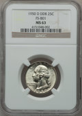 Washington Quarters, 1950-D 25C Double Die Reverse MS63 NGC. FS-801. NGC Census:(19/1185). PCGS Population (18/1526). Mintage: 21,075,600. Num...