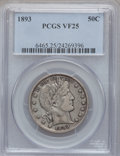 Barber Half Dollars: , 1893 50C VF25 PCGS. PCGS Population (9/328). NGC Census: (4/235).Mintage: 1,826,792. Numismedia Wsl. Price for problem fre...