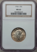Standing Liberty Quarters, 1926 25C MS63 NGC. NGC Census: (148/380). PCGS Population(248/507). Mintage: 11,316,000. Numismedia Wsl. Price forproblem...
