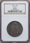 Bust Half Dollars: , 1831 50C VF35 NGC. O-101. NGC Census: (49/1432). PCGS Population(84/1570). Mintage: 5,873,660. Numismedia Wsl. Price for ...
