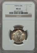Standing Liberty Quarters, 1929-D 25C MS62 NGC. NGC Census: (92/487). PCGS Population(105/698). Mintage: 1,358,000. Numismedia Wsl. Price for problem...