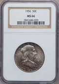 Franklin Half Dollars: , 1956 50C MS66 NGC. NGC Census: (596/1203). PCGS Population (591/9).Mintage: 4,000,000. Numismedia Wsl. Price for problem f...