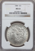 Morgan Dollars: , 1880 $1 MS63 NGC. NGC Census: (4390/5189). PCGS Population(4171/4847). Mintage: 12,601,355. Numismedia Wsl. Price for prob...