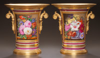 A PAIR OF NEOCLASSICAL PORCELAIN JARDINIÈRES ON STANDS Circa 1810 Incised mark: 20 11-3/4 inches